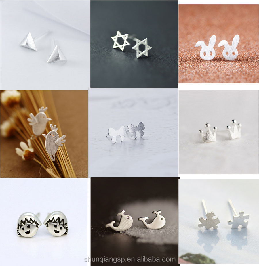 Wholesale fashion simple creative female frosted drawing earrings animal small stud earrings
