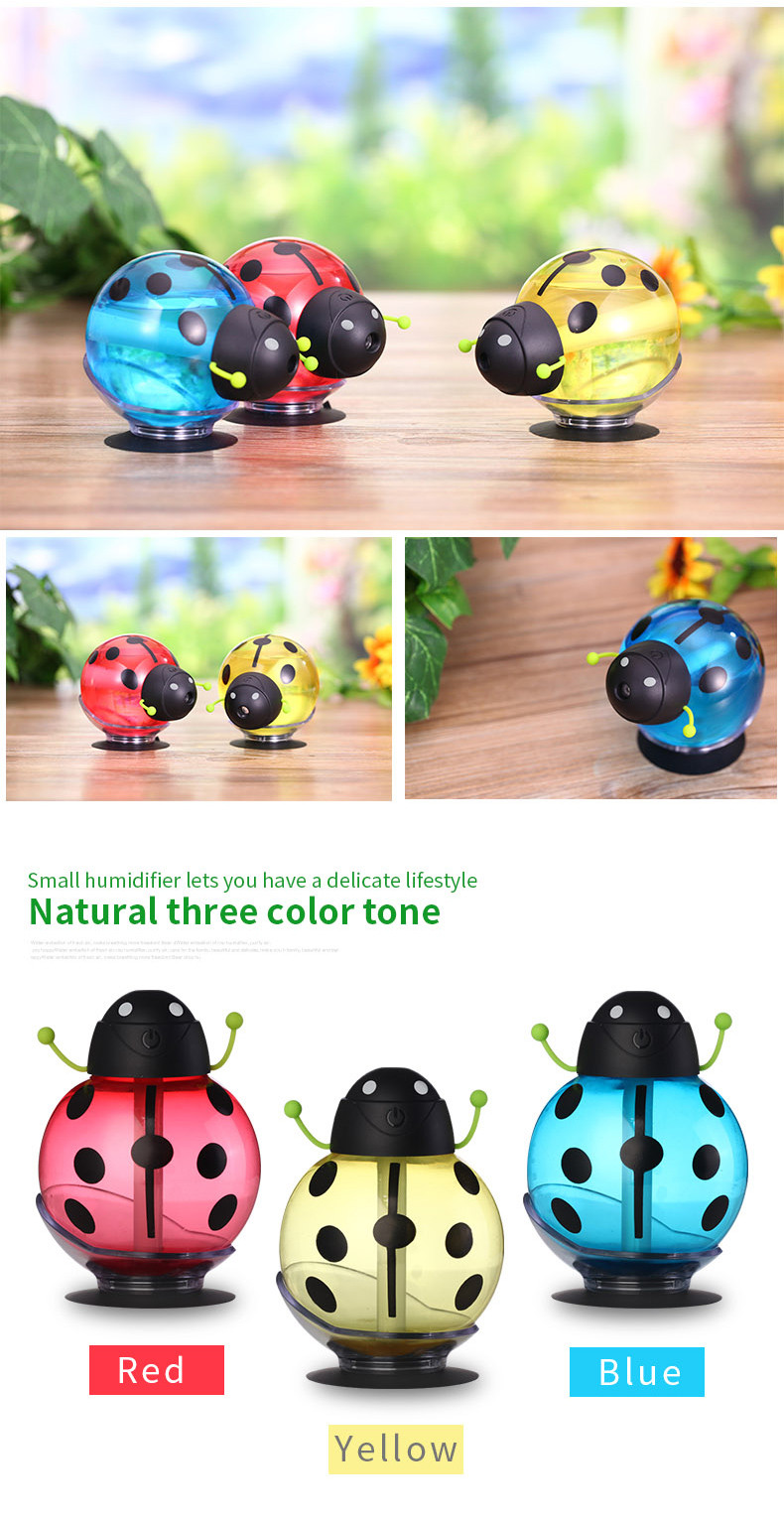 Beetle humidifier USB Humidifier Aroma diffuser Aromatherapy Essential oil diffuser Mini Portable Mist Maker 260ml LED Night