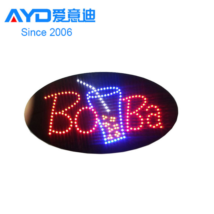 2016 Hot Sale Custom Business Boba Acrylic Indoor Use LED Sign Board Factory