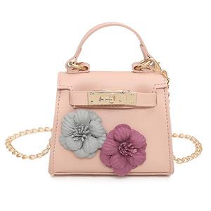 Girls Bag 2017 Cute Flower Chain Bag Fashion Handmade Kids Leather Purses  Teenagers Handbag Women Mini fdc0dca0f245e