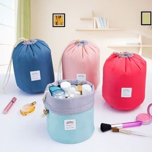 portable waterproof cylinder nylon drawstring round travel toiletry organizer wash cosmetic bag