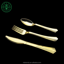 Best selling plastic utensils rose gold flatware set