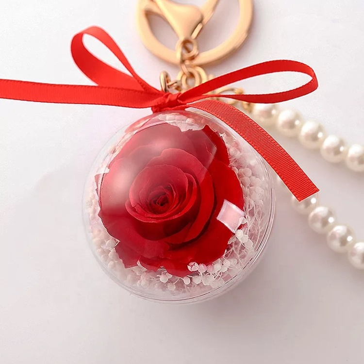 Luxury and top quality preserved flower keychain <strong>for</strong> Christmas <strong>gift</strong>