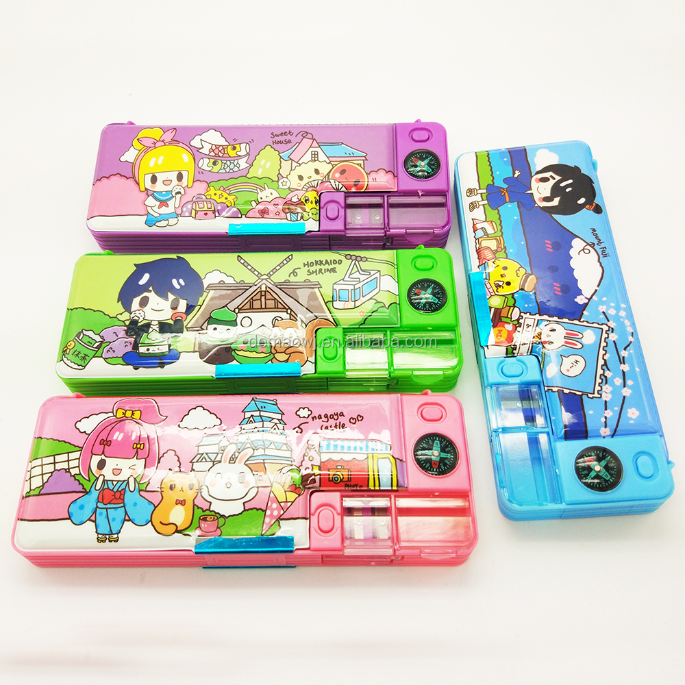 Newest design cool multifunctional double sides plastic magnetic pencil case
