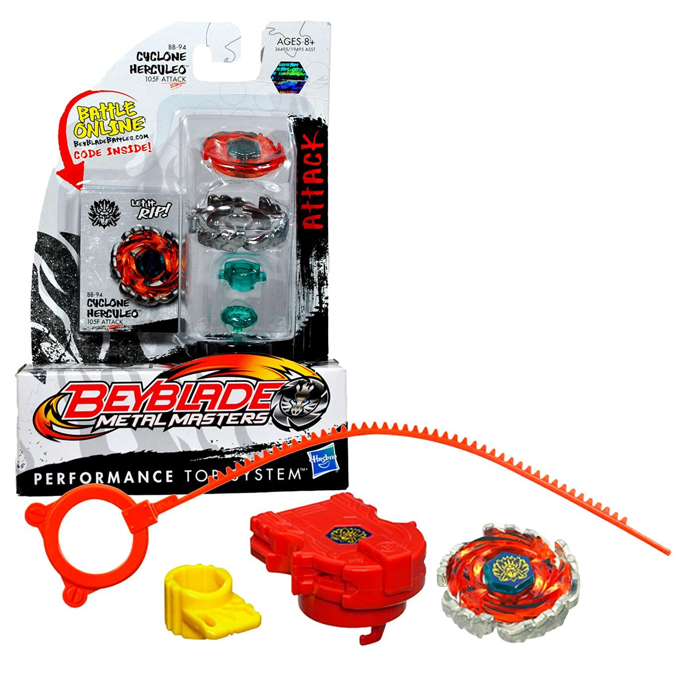 Hasbro Year 2011 Beyblade Metal Masters High Performance Battle Tops - Attack 105F BB-94 CYCLONE HERCULEO with Face Bolt, Herculeo Energy Ring, Cyclone Fusion Wheel, 105 Spin Track, F Performance Tip and Ripcord Launcher Plus Online Code