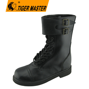 High cut corrected leather goodyear welted army boots military