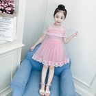 Fancy boutique birthday solid color off-shoulder lace kid girl party dress