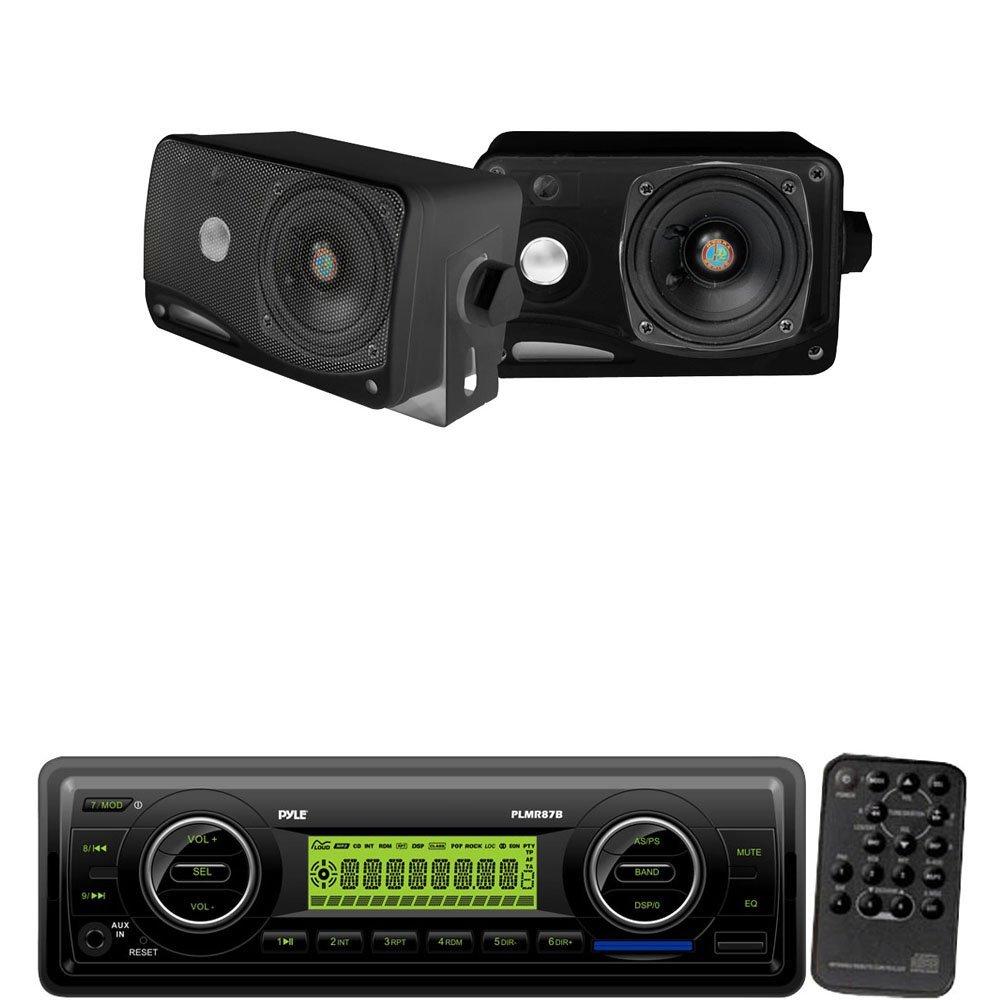 Pyle Marine Radio Receiver and Speaker Package - PLMR87WB AM/FM-MPX IN-Dash Marine MP3 Player/Weatherband/USB & SD / MMC Card Function (Black) - PLMR24B 3.5'' 200 Watt 3-Way Weather / Water Proof Mini Box Speaker System