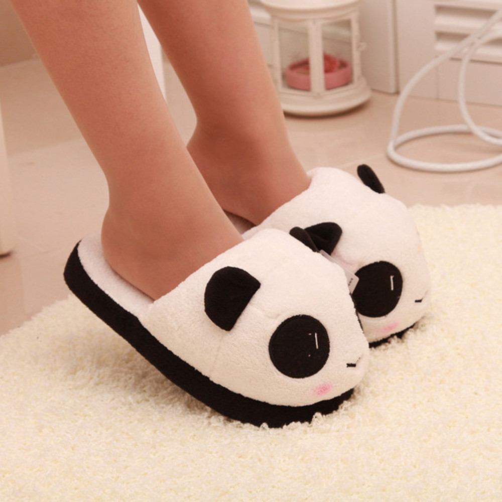 Women Ladies Soft Cute Panda Winter Warm Plush Antiskid Shoes Indoor Home <strong>Slipper</strong> Free Shipping