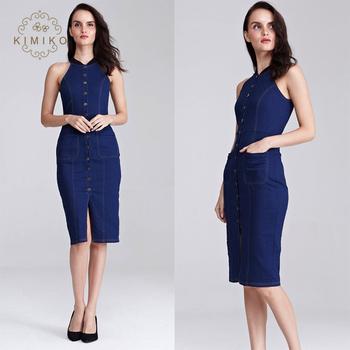 fc03b0c10b7a 2018 European Women Fashion Midi Dress Bodycon Sleeveless Halter Denim Dress