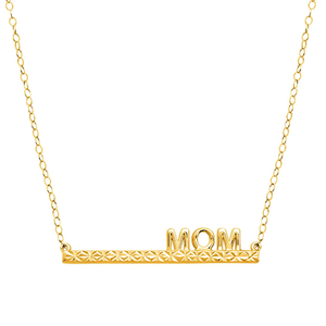 "2018 New Design18K Gold Plated ""MOM"" Bar Necklaces Jewelry For Mother's Day Gift"