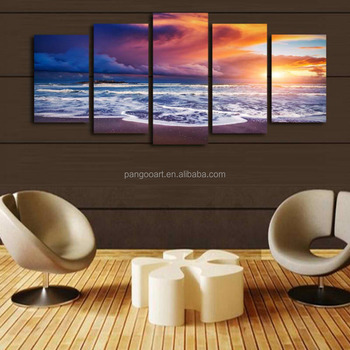 Hd Print 5 Pcs Art Sunset Sea Beach Painting Home Wall Decor Print ...