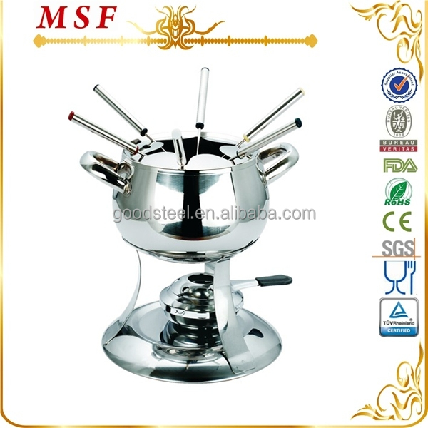 MSF 202 SS apple shape single bottom and 6pcs forks chocolate fondue machine