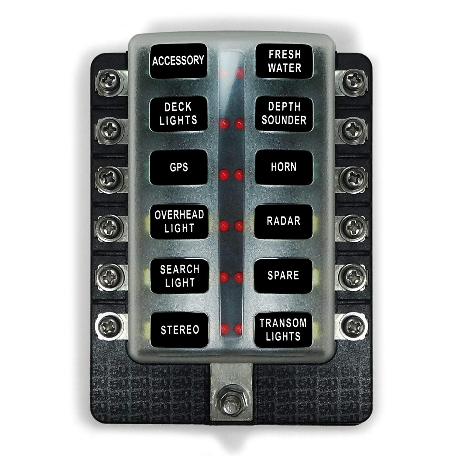 Get Quotations · 50 Caliber Racing Universal 12 Way Standard LED Circuit  Blade Fuse Box Kit Suitable for Automotive