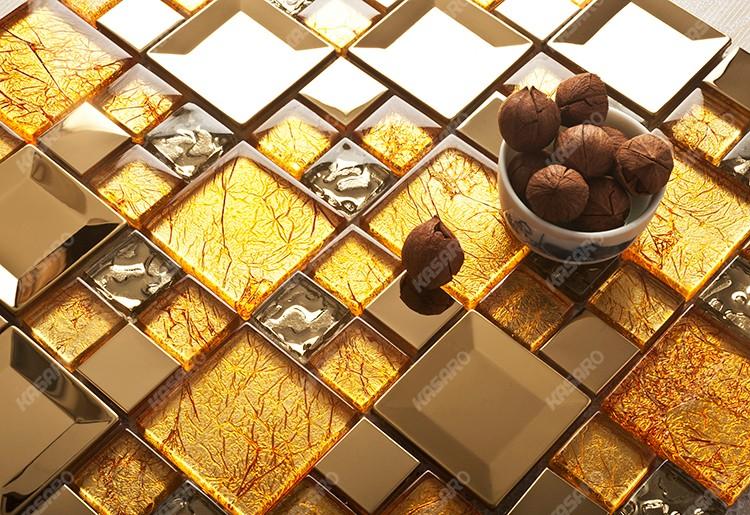 Parete decorazione piastrelle oro mosaico di vetro foglia oro