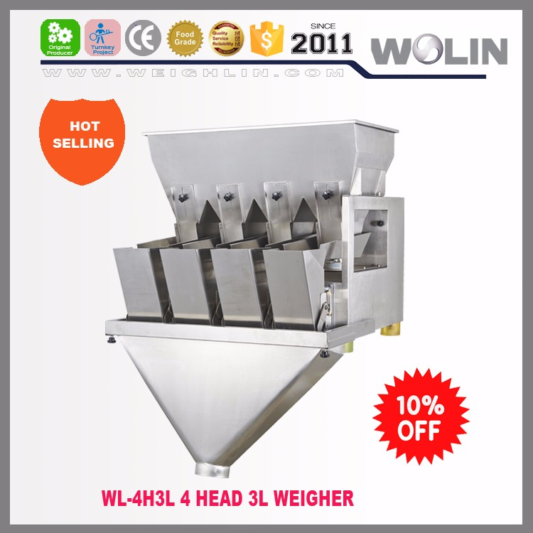 WL-P4H30 Low cost rice sugar beans nuts seeds 4 head linear weigher