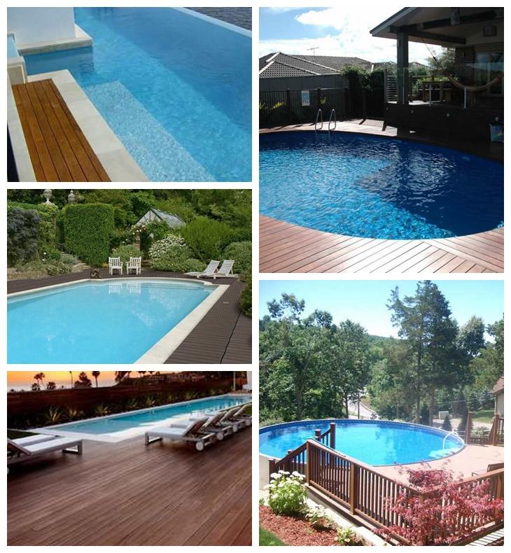 Swimming Pool Edge: Anti Slip Swimming Pool Edge Wpc Solid Wood Parquet