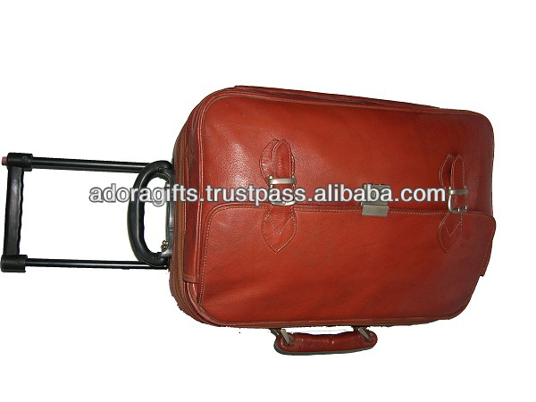 Best Quality Leather trolley bags for international tours and travels