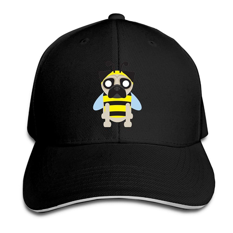 b54601d315146 Get Quotations · SMZYSM Bee Pug Dog Unisex Sandwich Caps Cartoon Snapback  Hats Funny Trucker Hats Unique Snapback Cap