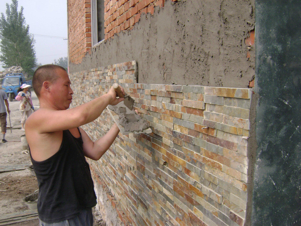 Barato pizarra cultura piedra exterior revestimiento de for Revestimiento de paredes exteriores baratos