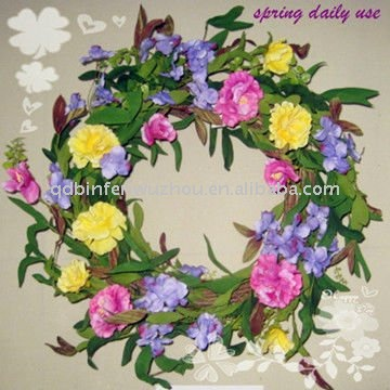 Artificial Plastic Flowers Wreath for Indoor Decoration,spring artificial flower wreaths