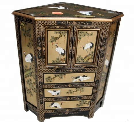 Gold Crane Pine Lacquer Oriental Art Furniture Home Corner Cabinet Painted Wooden Livingroom Cabinets