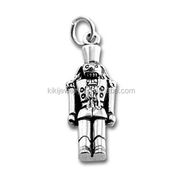 Online Wholesale Antique Silver Plated Metal Christmas Nutcracker Soldier Charm