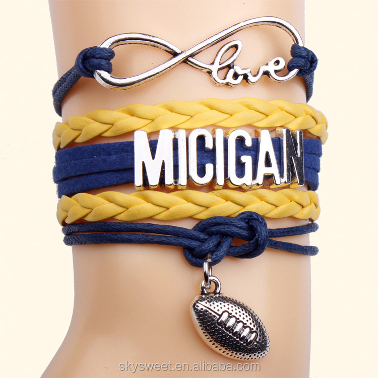 MICIGAN American football charm sports bracelet,factory custom made cheap sports jewelry(PR1252)