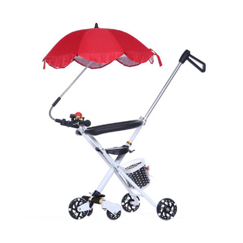 KOOK Wheelchair Pushchair Baby Stroller and Holder Parasol UV Rays Rain Sun Canopy,Stretchable Pram Stroller Chair Bicycle Umbrella Holder Clip Clamp,Waterproof and UV resistant umbrella (Red)