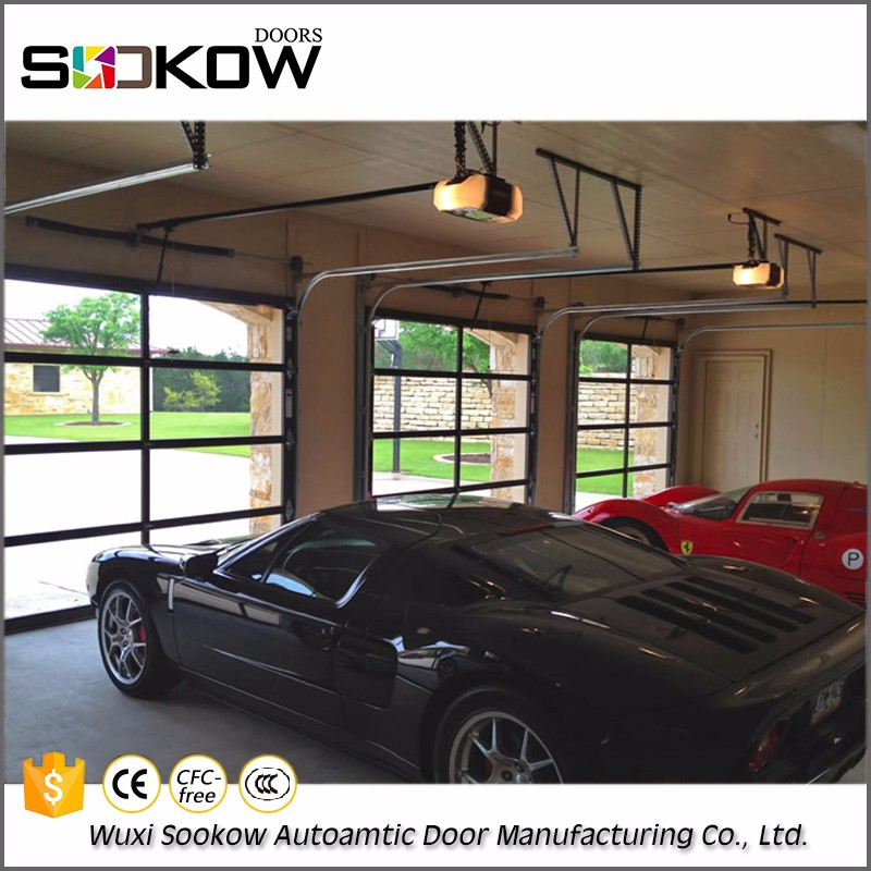 Decorative full view specialty commercial floding glass garage door