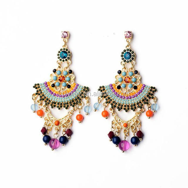 Fashion colorful beaded ethnic earring, 2015 trending fine jewelry china