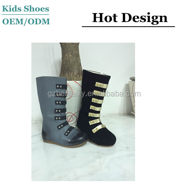 2015 Fashionable Can be Customized Color Suede Strap Cow Leather Girls Military Boots