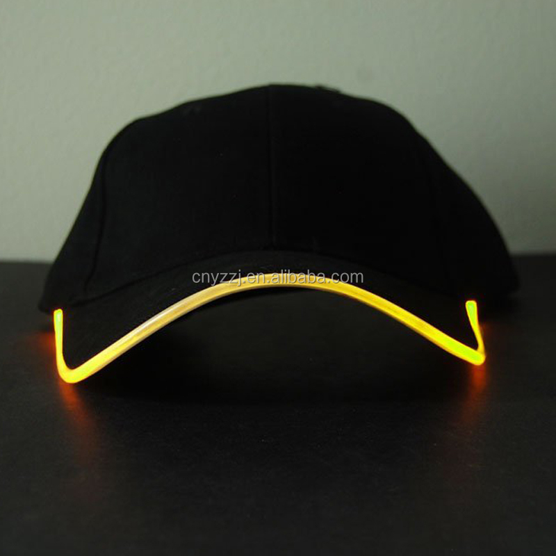 LED Light Glow Club Party Hat Sports Cap Black Fabric