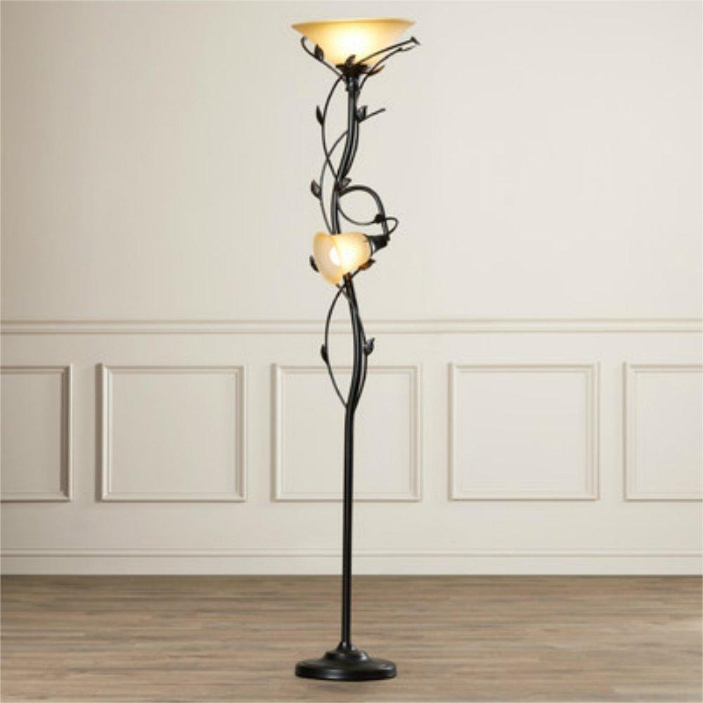 Elegant 72 Inch 2 Light Torchiere Floor Lamp With Leaf Design Stand For  Bedroom,