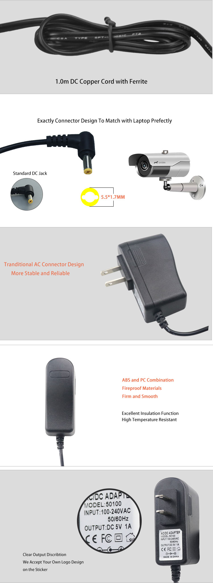 AC 100-240 V untuk DC 5 V 1A Converter Power Supply Adaptor 2.5 Mm Kami Gaya