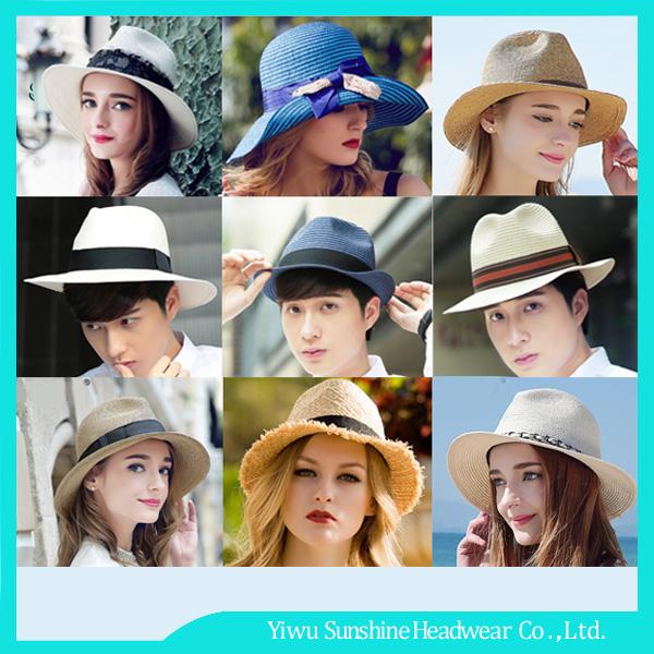 2017 Nuevo Estilo Unisex Playa Sunscreem Panamá Sombrero de Paja de Papel  Con Cinta Personalizada 9e593437307