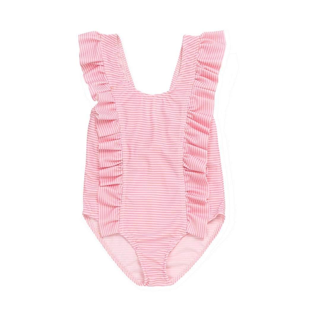 ac77061158fce Get Quotations · Winsummer Newborn Baby Girl Swimsuit Ruffles Bathing Suit  Bikini Striped Swimwear for Baby Girls Beach Wear