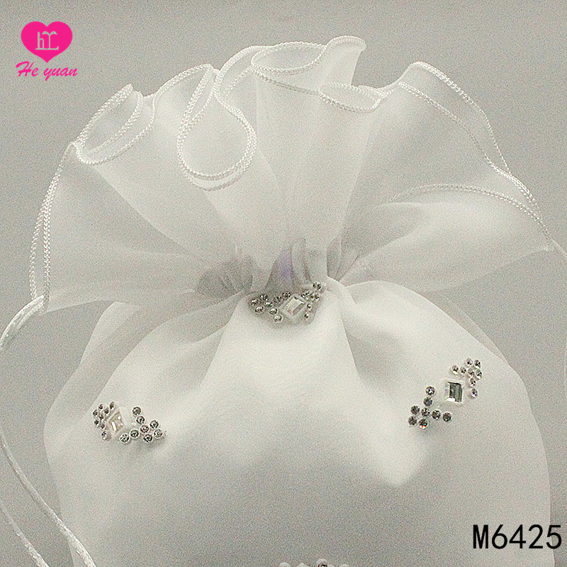 M6425 Hot Sale Flower Girl Bag for Wedding with Beaded and Embroidered Satin