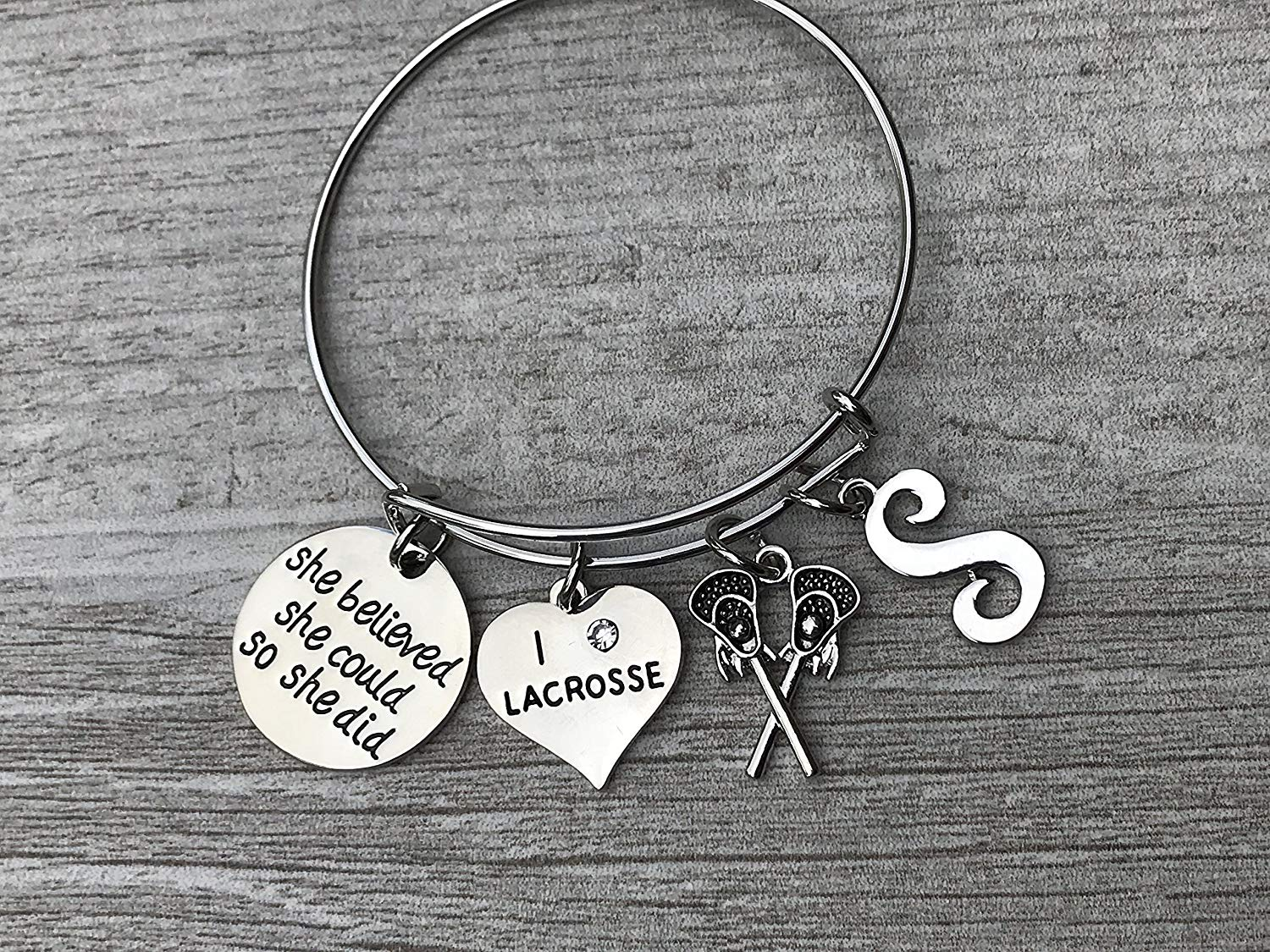 Get Quotations · Personalized Girls Lacrosse Bracelet- Girls Lax She  Believed She Could So She Did Jewelry with 70af22dfa
