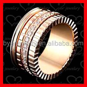 Custom couples wedding ring stainless steel jewelry with rose gold plating