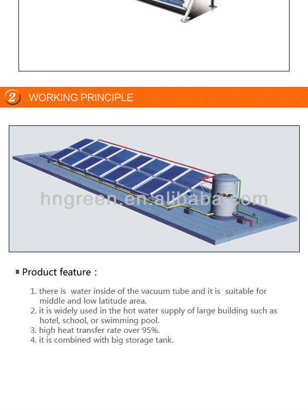 Small Swimming Pool Flat Low Pressure Evacuated Tube Solar Water Heater