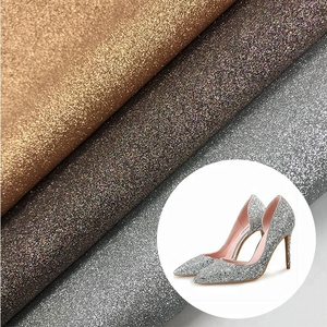 Glitter pu synthetic leather for shoes