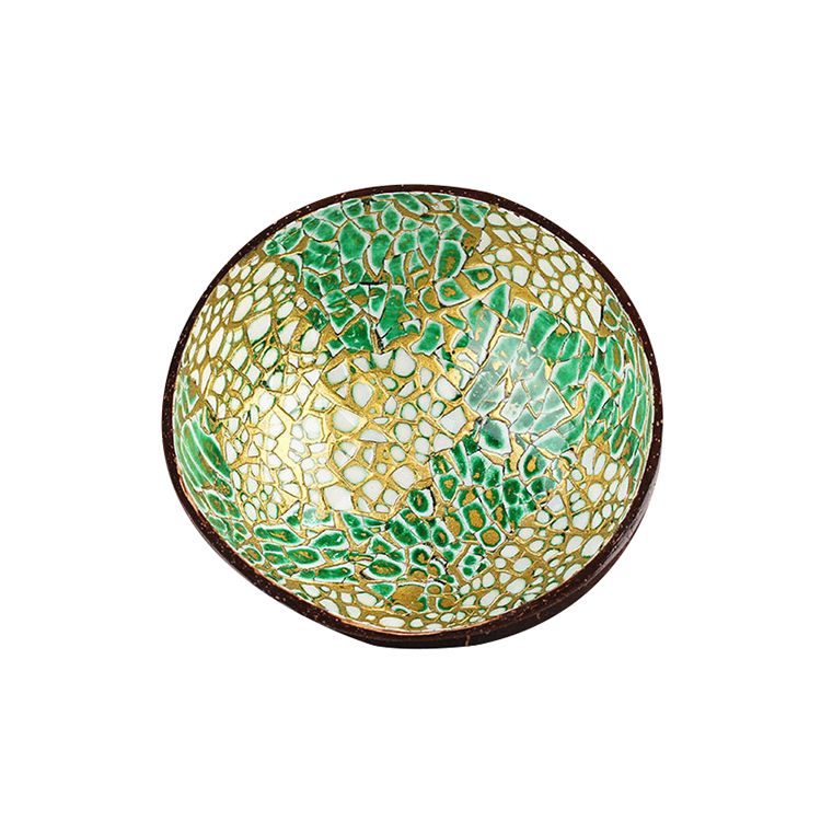 storage candy and melon seeds dried fruits Customized pattern coconut shell bowl