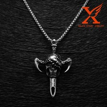 Machete Skull Head Charm cruz Axe Casting Silver stainless steel Pendants Punk Cross