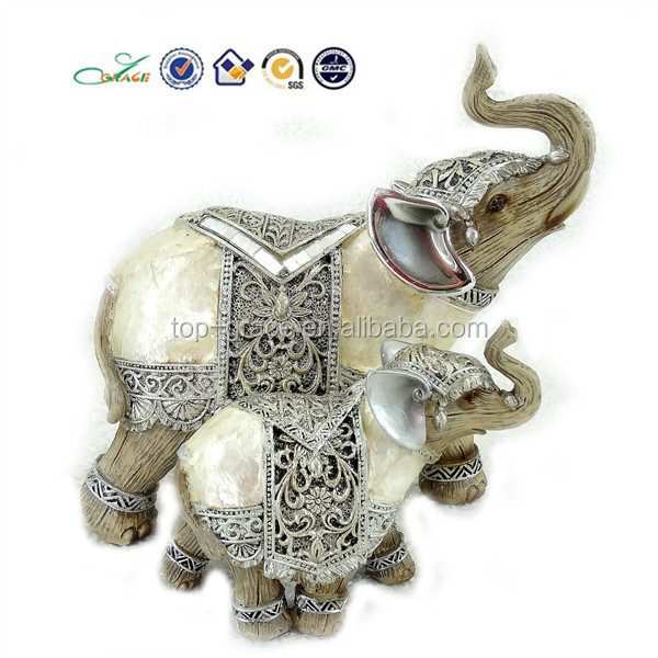 2015 home shell decorative elephant mother love sculpture