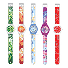 Watch Womens Fashion PVC Band Plastic Watch For Promotion Plastic Ladies Watch Custom Printed Strap Womens Full Printed Plastic Watch