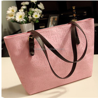 Wholesale pu leather lady fashion hand bag , handbag factories in china
