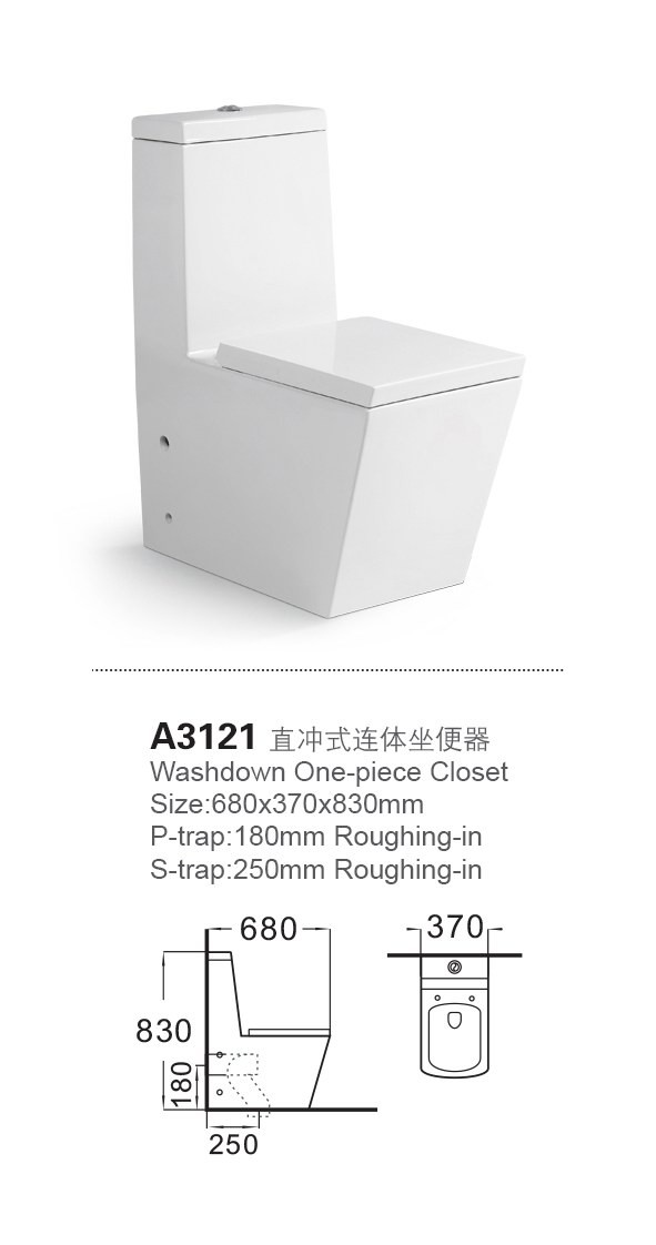 A3121 all sides straight big size ceramic toilet bowl