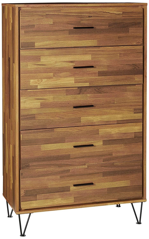 Major-Q Mid-Century Dresser with 5 Drawers for Bedroom / Entryway / Hallway, Walnut Finish 32 x 16 x 52