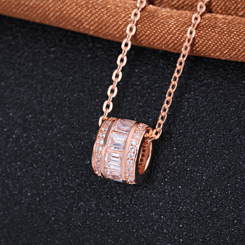 Fashion Round Shaped Charm Pendant Necklace,925 Silver Rose Gold White CZ Pendant <strong>Jewelry</strong>
